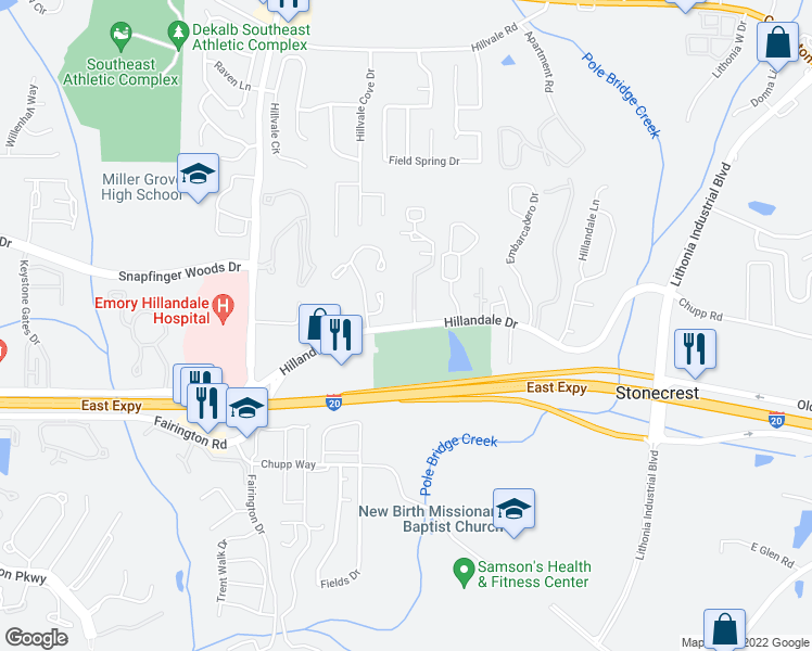 map of restaurants, bars, coffee shops, grocery stores, and more near 6136 Hillandale Drive in Lithonia