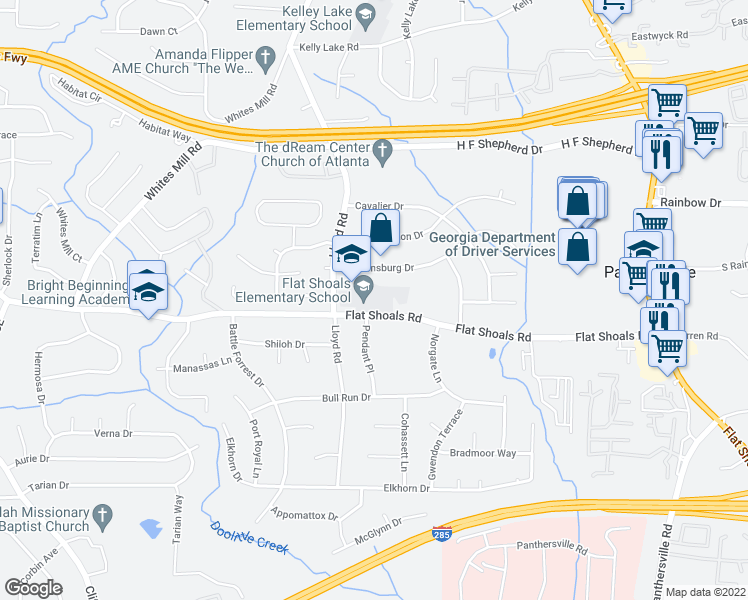 map of restaurants, bars, coffee shops, grocery stores, and more near 3226 Flat Shoals Road in Decatur