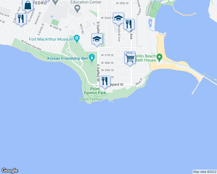 map of restaurants, bars, coffee shops, grocery stores, and more near 675 Shepard St in San Pedro