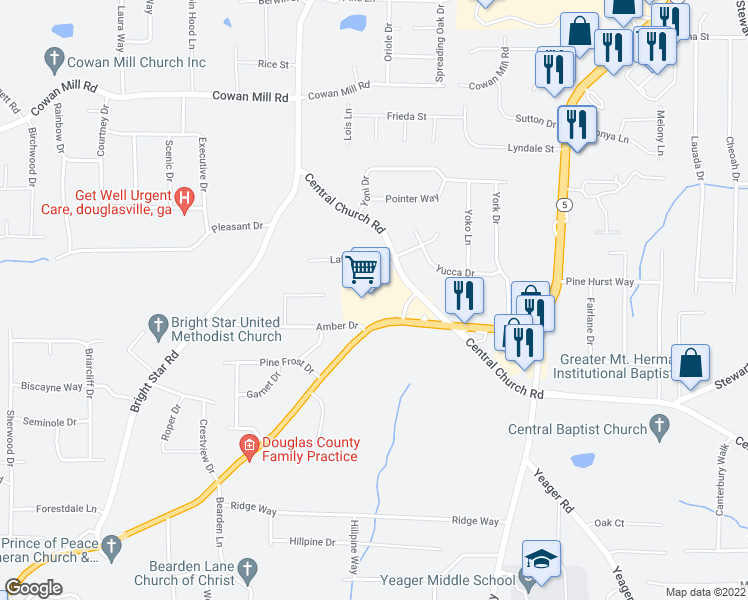 map of restaurants, bars, coffee shops, grocery stores, and more near 3697 Highway 5 in Douglasville