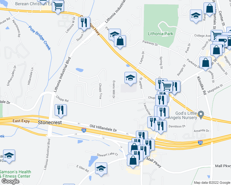 map of restaurants, bars, coffee shops, grocery stores, and more near 2716 Evans Mill Drive in Lithonia