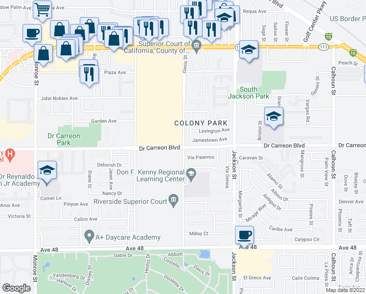 map of restaurants, bars, coffee shops, grocery stores, and more near Dr Carreon Blvd in Indio