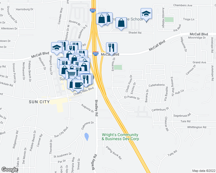 map of restaurants, bars, coffee shops, grocery stores, and more near 62 Coronado Way in Menifee