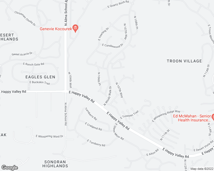 map of restaurants, bars, coffee shops, grocery stores, and more near 25150 North Windy Walk Drive in Scottsdale