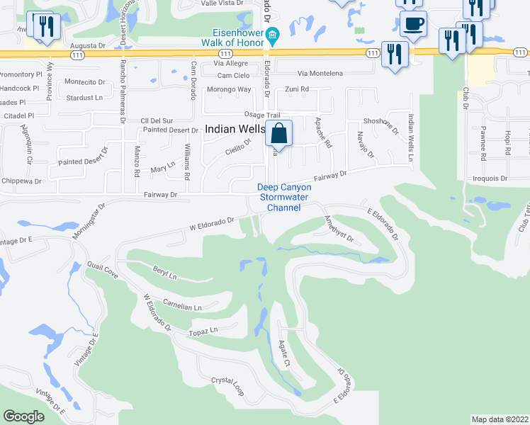 map of restaurants, bars, coffee shops, grocery stores, and more near 46045 Eldorado Dr in Indian Wells