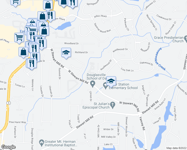 map of restaurants, bars, coffee shops, grocery stores, and more near 50 Carrington Ln in Douglasville