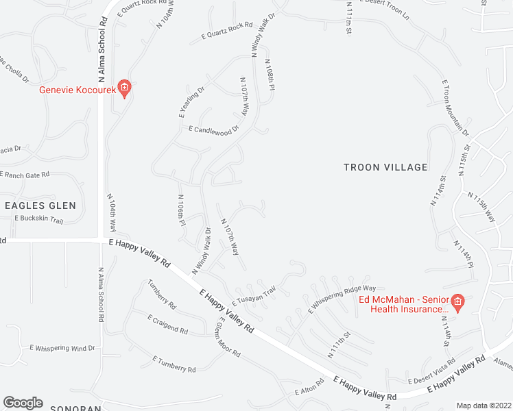 map of restaurants, bars, coffee shops, grocery stores, and more near 10870 East Buckskin Trail in Scottsdale