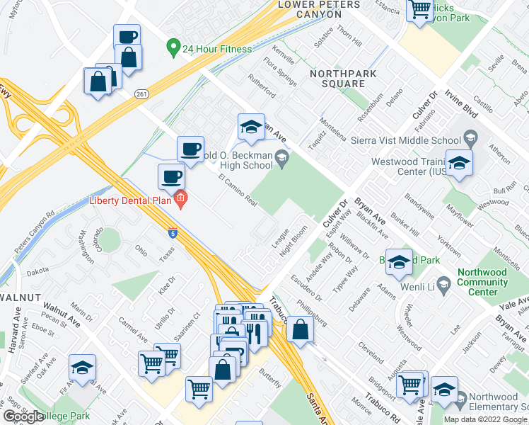 map of restaurants, bars, coffee shops, grocery stores, and more near El Camino Real in Irvine