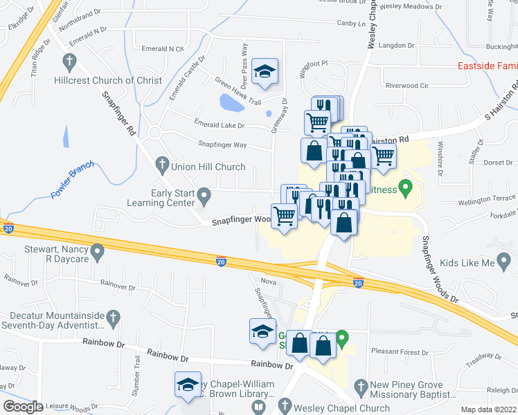 map of restaurants, bars, coffee shops, grocery stores, and more near 2499 Greenway Drive in Decatur