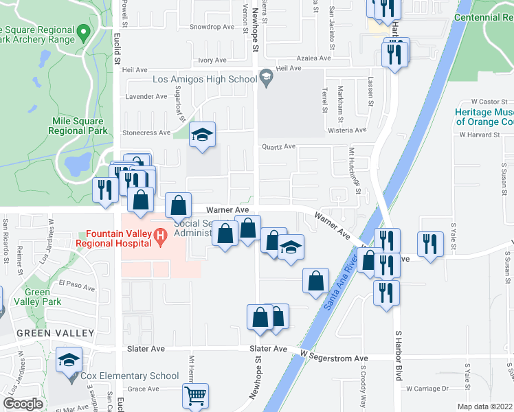map of restaurants, bars, coffee shops, grocery stores, and more near Warner Ave & Newhope St in Fountain Valley