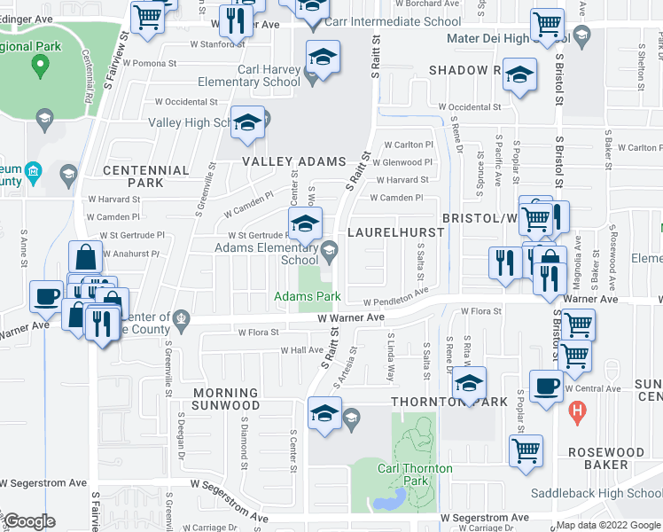 map of restaurants, bars, coffee shops, grocery stores, and more near 2130 S Raitt St in Santa Ana