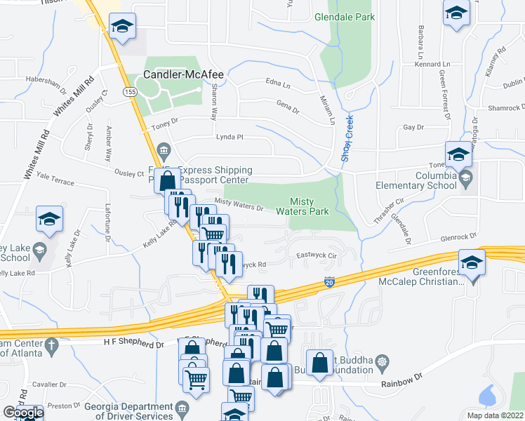 map of restaurants, bars, coffee shops, grocery stores, and more near 2920 Misty Waters Drive in Decatur