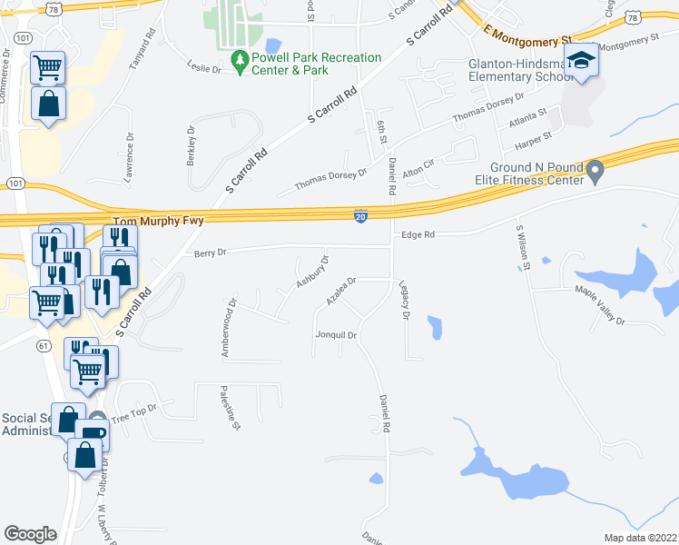 map of restaurants, bars, coffee shops, grocery stores, and more near 55-63 Azalea Dr in Villa Rica