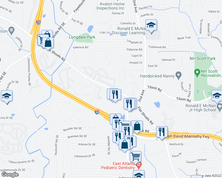 map of restaurants, bars, coffee shops, grocery stores, and more near Flat Shoals Rd SE & Leicester Way SE in Atlanta