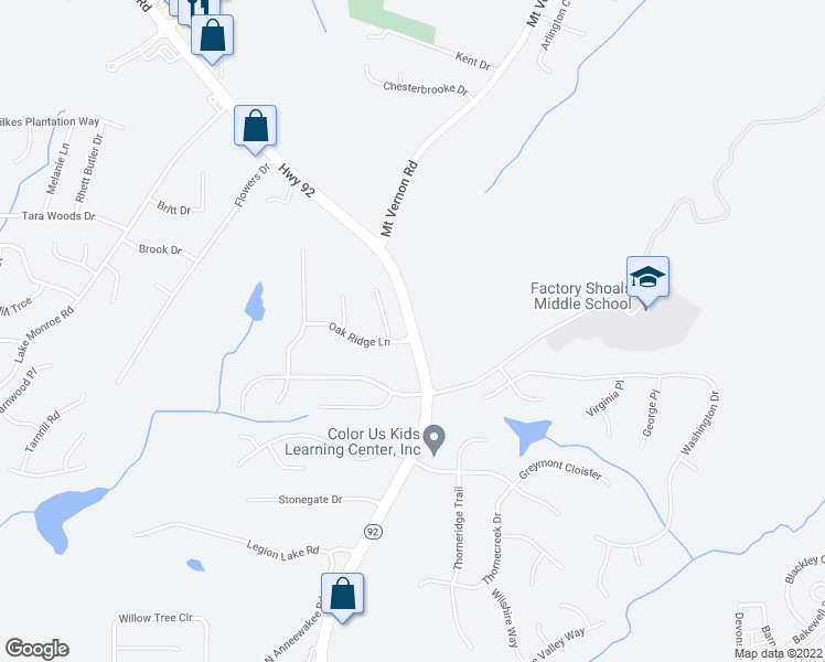 map of restaurants, bars, coffee shops, grocery stores, and more near 2586 Oakridge Lane in Douglasville