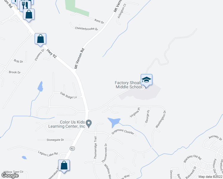 map of restaurants, bars, coffee shops, grocery stores, and more near Factory Shoals School Rd in Lithia Springs