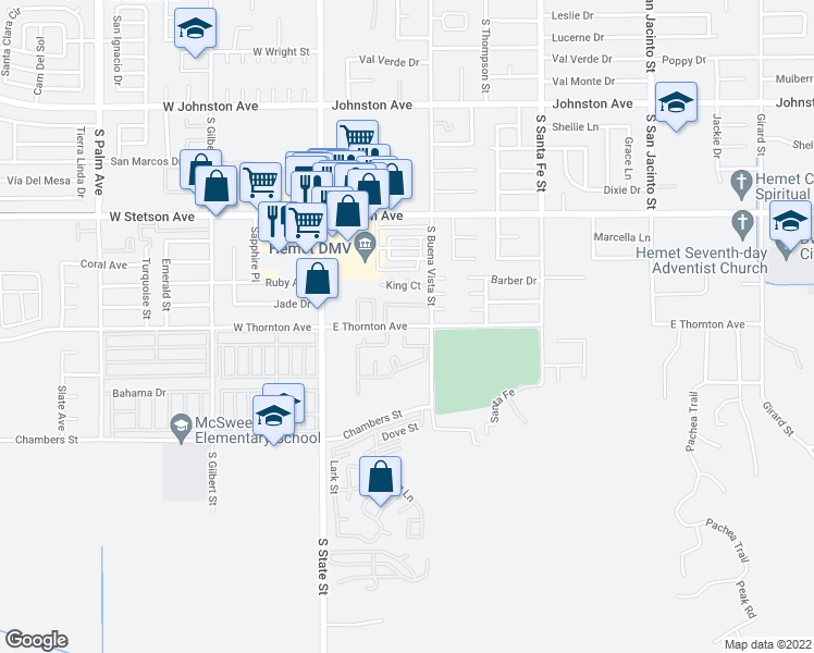 map of restaurants, bars, coffee shops, grocery stores, and more near 358 East Thornton Avenue in Hemet