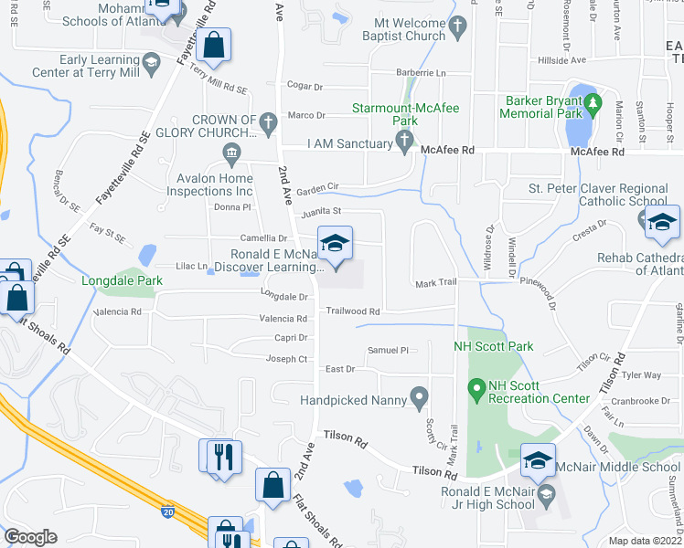 map of restaurants, bars, coffee shops, grocery stores, and more near 2061 East Camellia Drive in Decatur