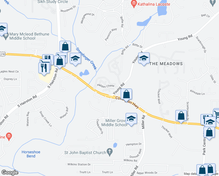 map of restaurants, bars, coffee shops, grocery stores, and more near 101 Whitney Chase Apartment in Stone Mountain