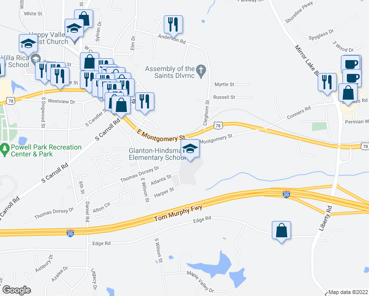 map of restaurants, bars, coffee shops, grocery stores, and more near 105 Glanton Street in Villa Rica
