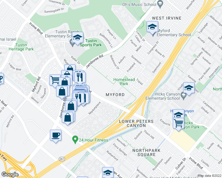 map of restaurants, bars, coffee shops, grocery stores, and more near Market Place & Marketview in Irvine