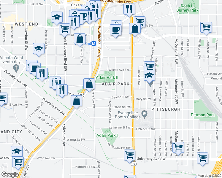 map of restaurants, bars, coffee shops, grocery stores, and more near 713 Bonnie Brae Ave SW in Atlanta