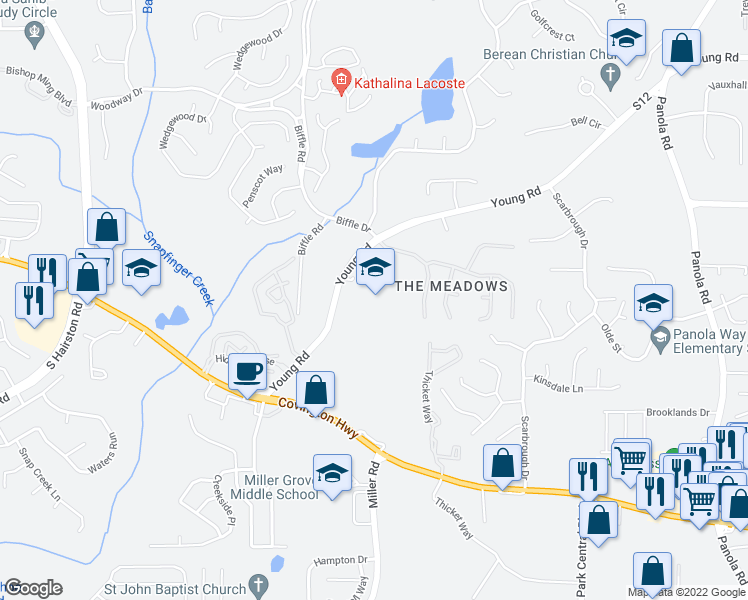 map of restaurants, bars, coffee shops, grocery stores, and more near 2584 Young Rd in Stone Mountain