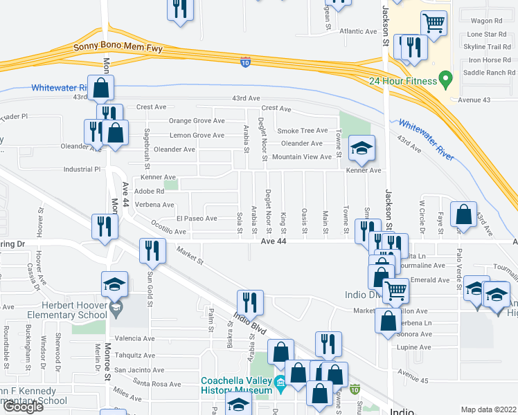 map of restaurants, bars, coffee shops, grocery stores, and more near 43632 Arabia Street in Indio