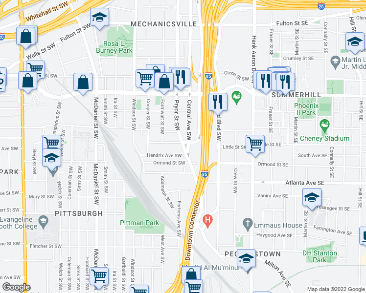 map of restaurants, bars, coffee shops, grocery stores, and more near 797 Pryor St SW in Atlanta