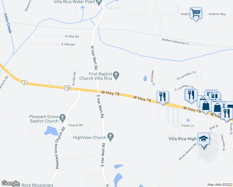 map of restaurants, bars, coffee shops, grocery stores, and more near 1483-1489 Highway 8 in Villa Rica