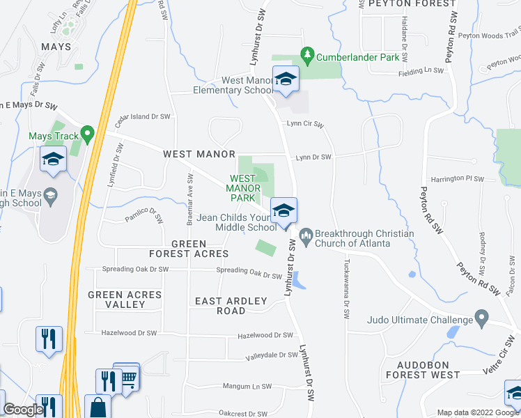 map of restaurants, bars, coffee shops, grocery stores, and more near 3100-3150 Benjamin E Mays Drive Southwest in Atlanta