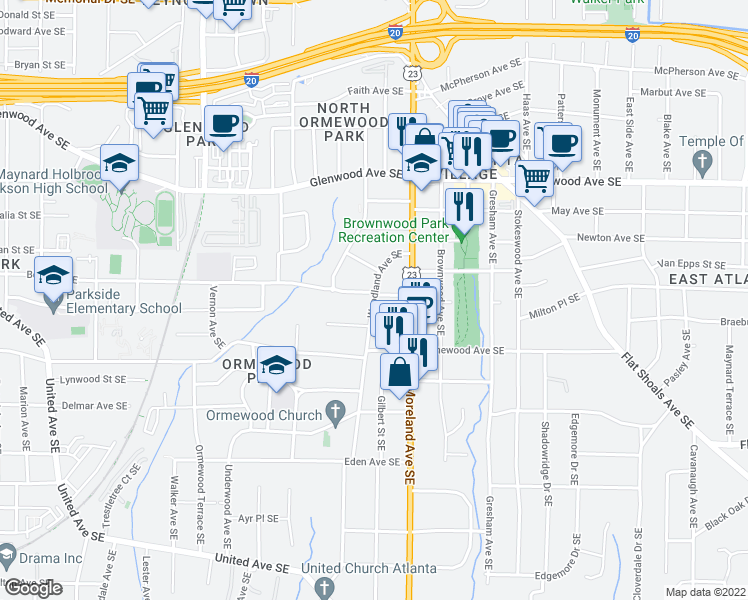 map of restaurants, bars, coffee shops, grocery stores, and more near 653 Woodland Ave SE in Atlanta