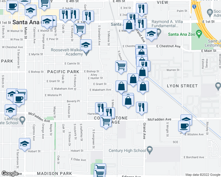 map of restaurants, bars, coffee shops, grocery stores, and more near 805 Minnie St in Santa Ana