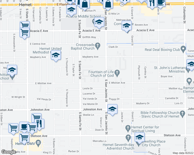map of restaurants, bars, coffee shops, grocery stores, and more near 7 Olive Tree Lane in Hemet