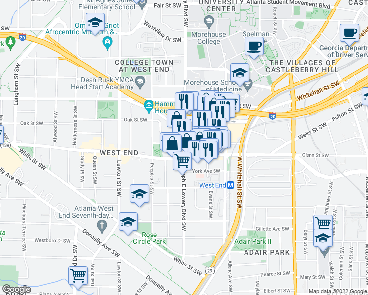 map of restaurants, bars, coffee shops, grocery stores, and more near 566-628 Joseph E Lowery Boulevard Southwest in Atlanta