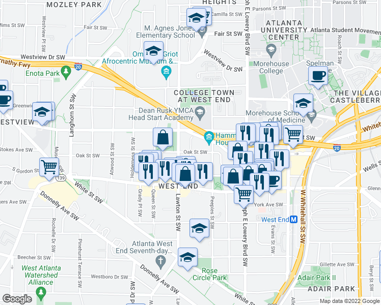 map of restaurants, bars, coffee shops, grocery stores, and more near Oak St SW &