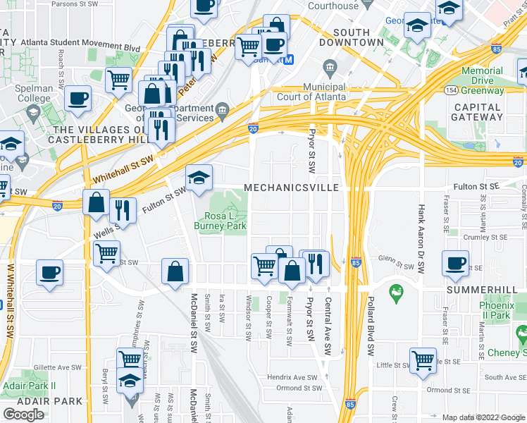 map of restaurants, bars, coffee shops, grocery stores, and more near 301-317 Richardson Street Southwest in Atlanta