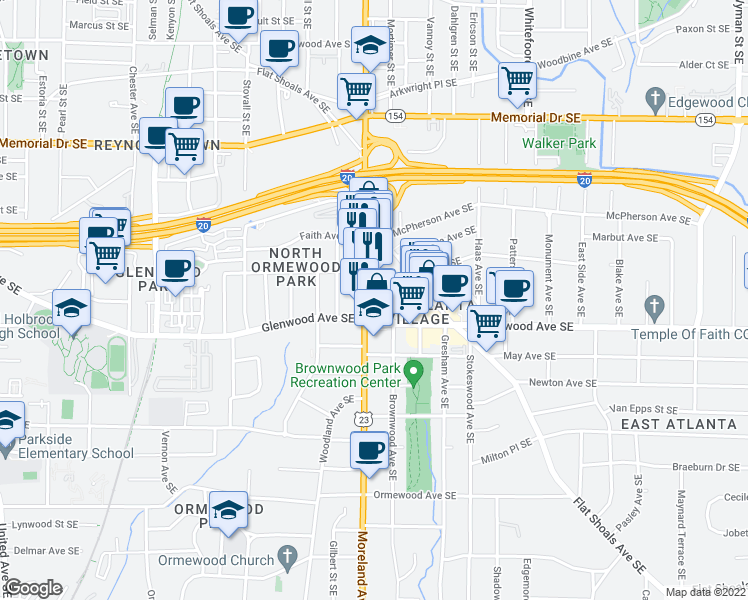map of restaurants, bars, coffee shops, grocery stores, and more near 475 Moreland Avenue Southeast in Atlanta