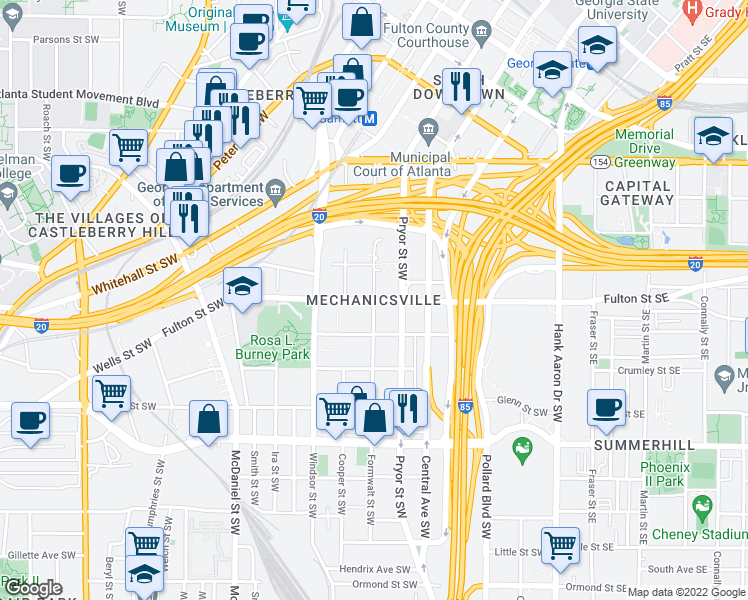 map of restaurants, bars, coffee shops, grocery stores, and more near Fulton St SW & Formwalt St SW in Atlanta