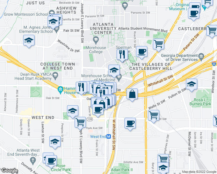 map of restaurants, bars, coffee shops, grocery stores, and more near 793 Park St SW in Atlanta