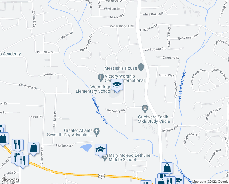 map of restaurants, bars, coffee shops, grocery stores, and more near 4120 Cedar Ridge Trail in Stone Mountain