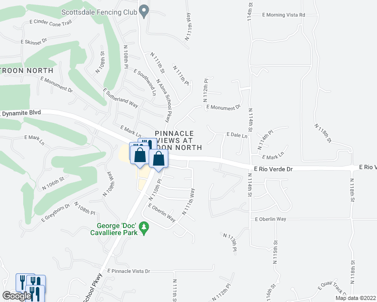 map of restaurants, bars, coffee shops, grocery stores, and more near 11157 East Mark Lane in Scottsdale