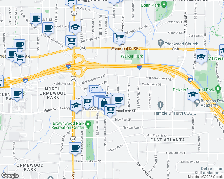 map of restaurants, bars, coffee shops, grocery stores, and more near Metropolitan Avenue Southeast in Atlanta