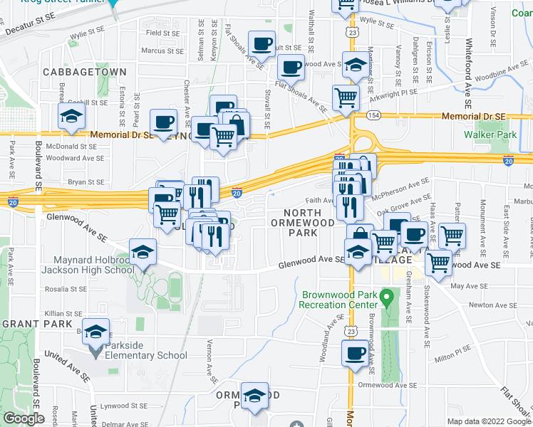 map of restaurants, bars, coffee shops, grocery stores, and more near Stovall Street Southeast in Atlanta