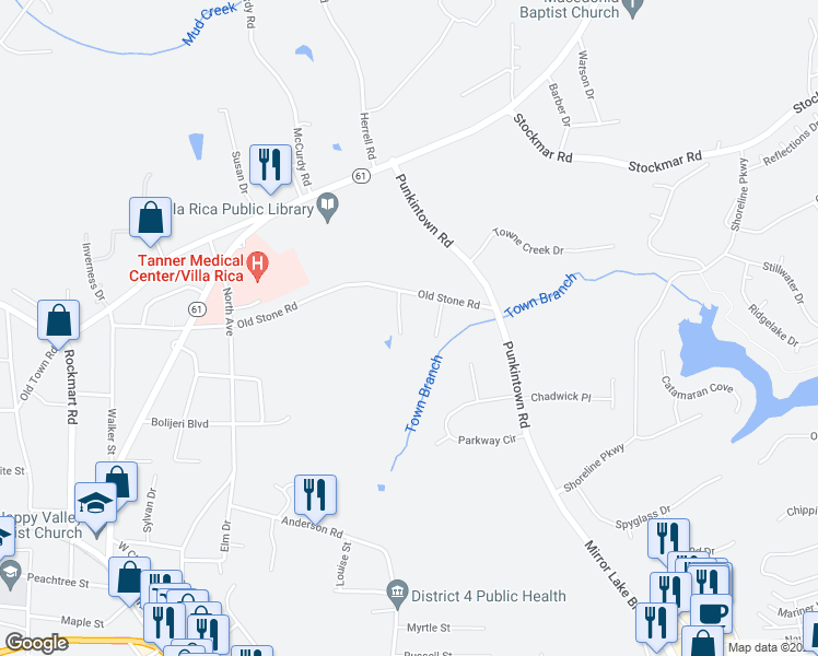map of restaurants, bars, coffee shops, grocery stores, and more near 45 Nugget Dr in Villa Rica