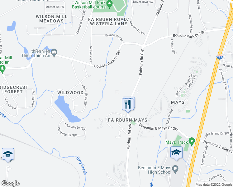 map of restaurants, bars, coffee shops, grocery stores, and more near 405 Fairburn Road Southwest in Atlanta