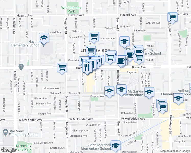 map of restaurants, bars, coffee shops, grocery stores, and more near 15026-15248 Moran Street in Westminster