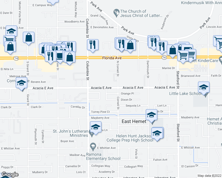 map of restaurants, bars, coffee shops, grocery stores, and more near 26011 Alice Lane in Hemet