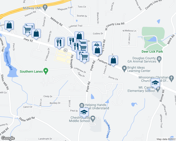 map of restaurants, bars, coffee shops, grocery stores, and more near 3720 Longview Dr in Douglasville