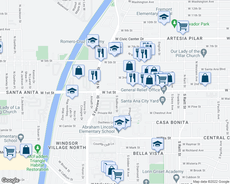 map of restaurants, bars, coffee shops, grocery stores, and more near 2507 West 1st Street in Santa Ana